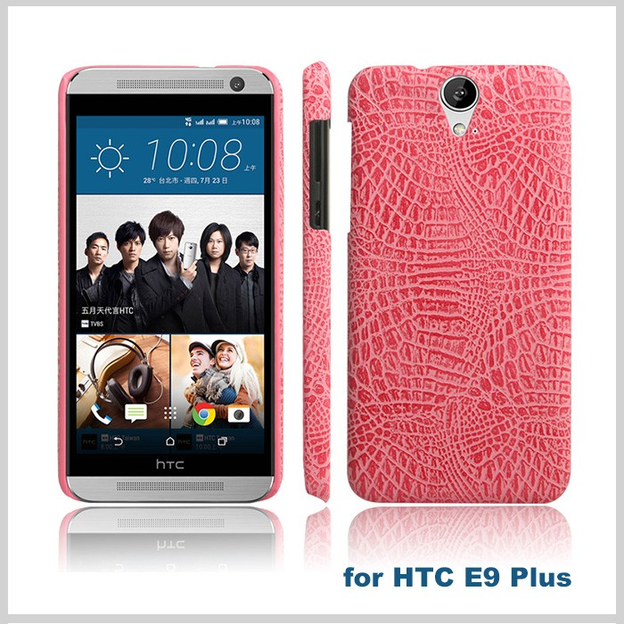 Factory made pu leather mobile phone case for htc e9 plus hard back cover