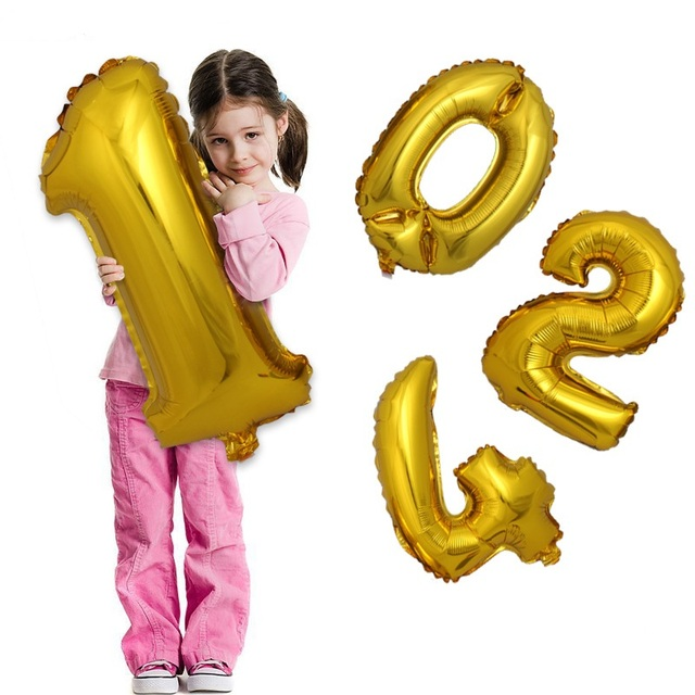1pcs 32inch Gold Silver 0-9 Number Aluminum Foil Balloons Wedding Birthday Party Decorative Celebration Supplies KF992