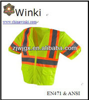 USA Top Sale Work Construction Wear Safety T-shirt Fluorescent Lime Color