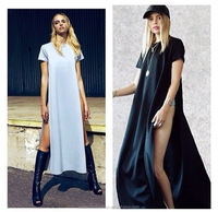 Instyles Junk Tee Long gypsy woman dress Open On The Sides long short sleeve prom dress t shrt