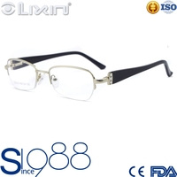 Newest Unique Silver Men Half-Frame Spring Hinge With diamond Acetate Temple Optical Eyewear