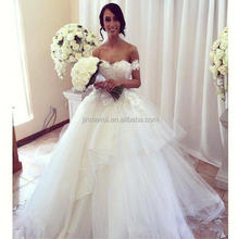 Vestidos De Noiva Sweetheart Ball Gown Tulle Lace Wedding Dresses 2016 Appliques With lace top bridal gowns
