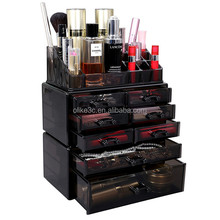 Hot & Cheap Plastic Best Cosmetic Organizers with Removable Drawers & Top Lipstick Holders