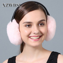 CX-A-56D Factory Price Fashion Heated Real Rex Rabbit Fur Earmuffs