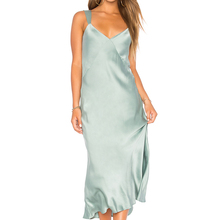 YL Fashion Women Jade Green Midi Slip Dress Young Girls Ladies Spaghetti Strap V Neck 100% silk Sexy Dress for Wholesale