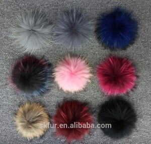 Wholesale cheap price 13 15 18 cm big and detachable real raccoon fur pompom ball for beanie hats