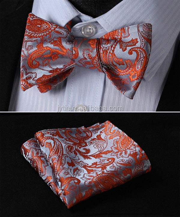 Luxury Designed Jacquard fabric Self Bow <strong>Tie</strong> and Handkerchief Set For Men