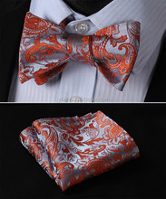 Luxury Designed Jacquard fabric Self Bow Tie and Handkerchief Set For Men