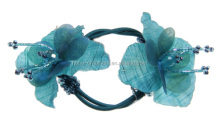 fancy Elegent Fabric Flower and Beaded Elastic hair tie ponytail holders made of hair