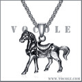 Blackened Horse Pendant Animal Thick Chain Silver Necklace