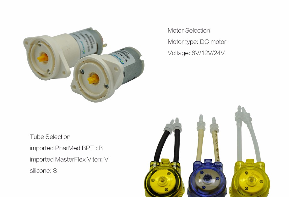 Kamoer KFS water pumps chemical dosing pump with different motors(DC MOTOR STEPPER MOTOR)