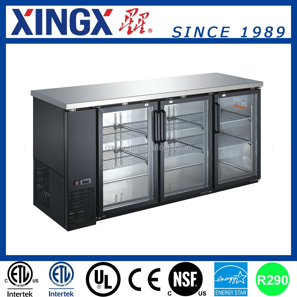 Commercial Back Bar Cooler with Three Glass Doors _ UBB-24-72G