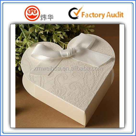 2015 white romantic heart shape wedding candy gift box