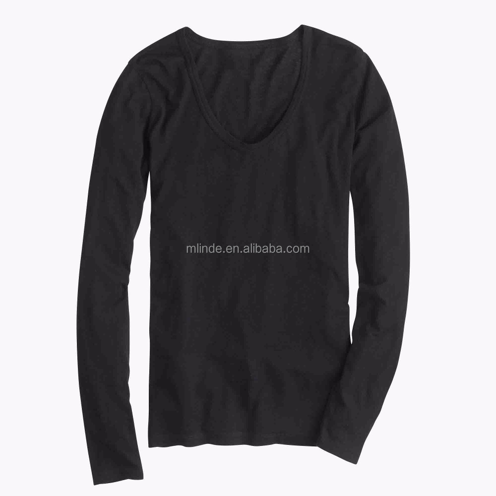 Plain Women Fitted Blank T-shirts Vintage Cotton Long-sleeve Scoop neck Cheap T-shirts Design Sports T-shirts
