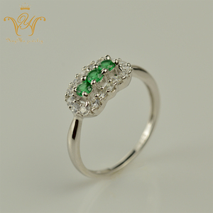 Fashion Jewellery, Emerald green precious gemstone 925 silver jewelry rings