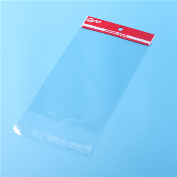 Customized printed clear plastic opp bag with card header