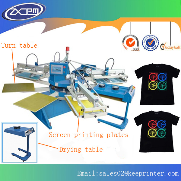 Automatic rotary table 6 color T-shirt screen printing machine