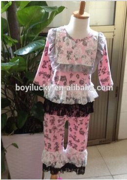 Autumn and winter new arrivel girl pajamas pink white lace black gauze baby clothing pink 2 ruffles pants boutique baby outfits