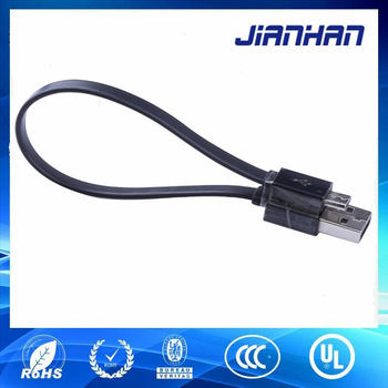 15cm mini usb charger mini B male to male flat cable for MP3/MP4