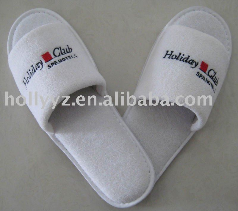 top quality white Cotton terry ladies bedroom slippers