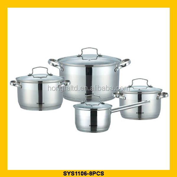 high quality stanless steel cookware with metal handle