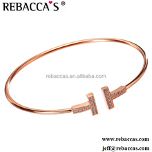 Latest Design Double T Letters Opening Bangle.Europe And The United States Copper Rose Gold Plated Bracelets