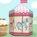 pastel carousel - cupcake box also holds cookies and party favors