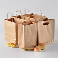 Disposable brown kraft paper food packing paper bags with your own logo