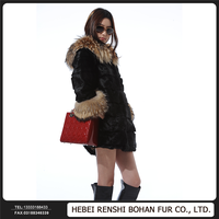 Factory Price Raccoon Fur Collar Unique Women Winter Coats