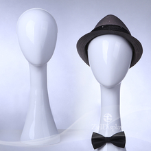 White Glossy Hat Display Female Mannequin Head