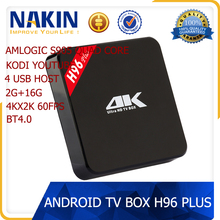 Amlogic S905 2GB DDR3 RAM 16GB EMMC ROM h96 plus tv box android tv box fully loaded