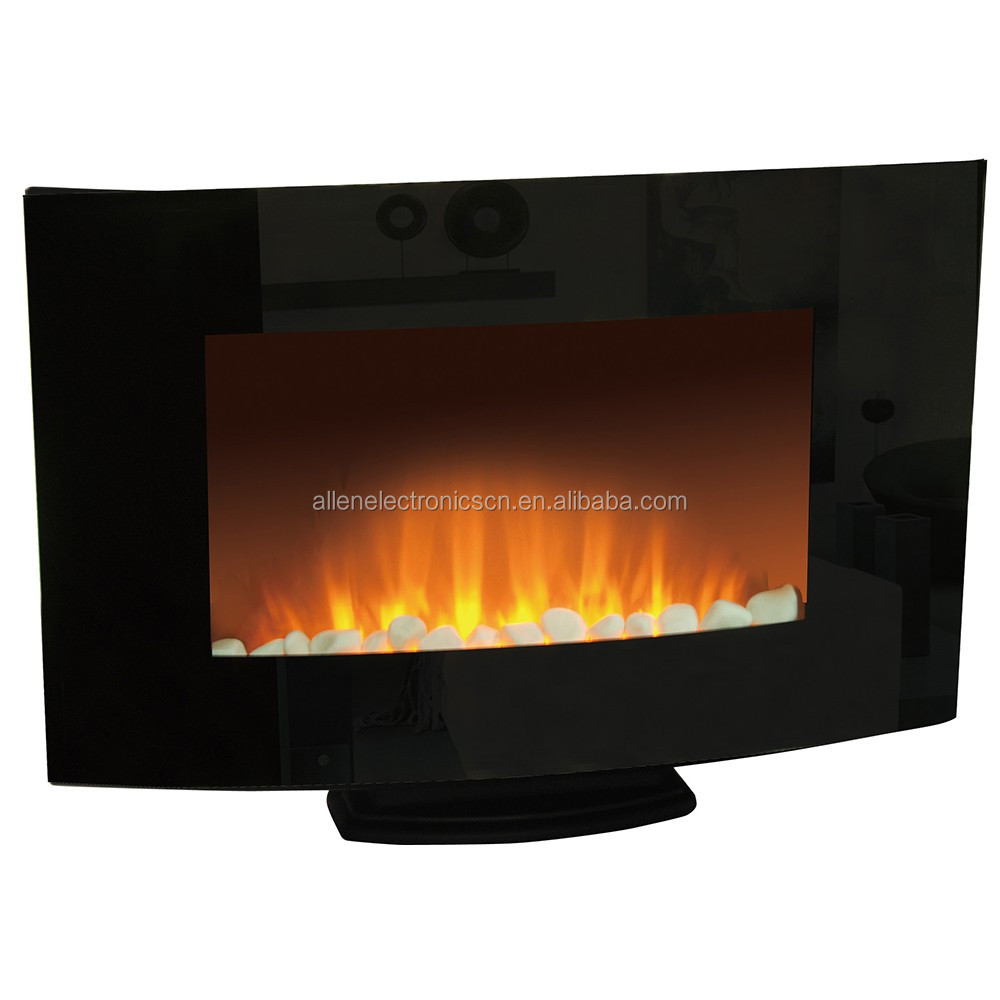 Electric Fireplace Wall Mounted Glass Fronted Fire Pebble Effect BLACK CURVED Electric Heater Fire Place Fireplace