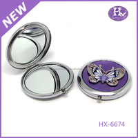 HX-6674 Butterfly round ladies metal wall mounted lighted makeup mirror