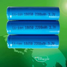 solar led light lithium battery / 3.7v 18650 li-ion 2200mah rechargeable battery/li-ion electric bike battery pack