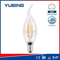 Glass Cover Edison Candle Bulb CA35 COB 4W LED Filament Bulb Dimmable