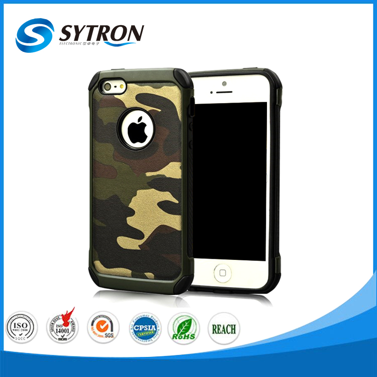 New arrival Camouflage 2 in 1 PU leather +TPU+PC Combo phone Case for Iphone 6s/6 plus