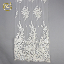 LF-376 China Supplier Custom Top Grade Polyester Sequin Embroidery Floral Design Guipure Lace Fabric