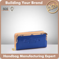 4532- 2016 New Arrival patent pu leather lady wallet money bag