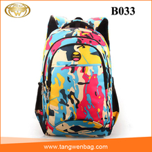 2016fashionable silk screen printing waterproof nylon school backpack for girls