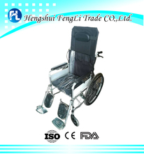 comfortable reclining manual folding wheel chair with toilet hole wheelchair for disabled person