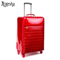 Decent PU leather soft red luggage suitcase travel trolley luggage bags