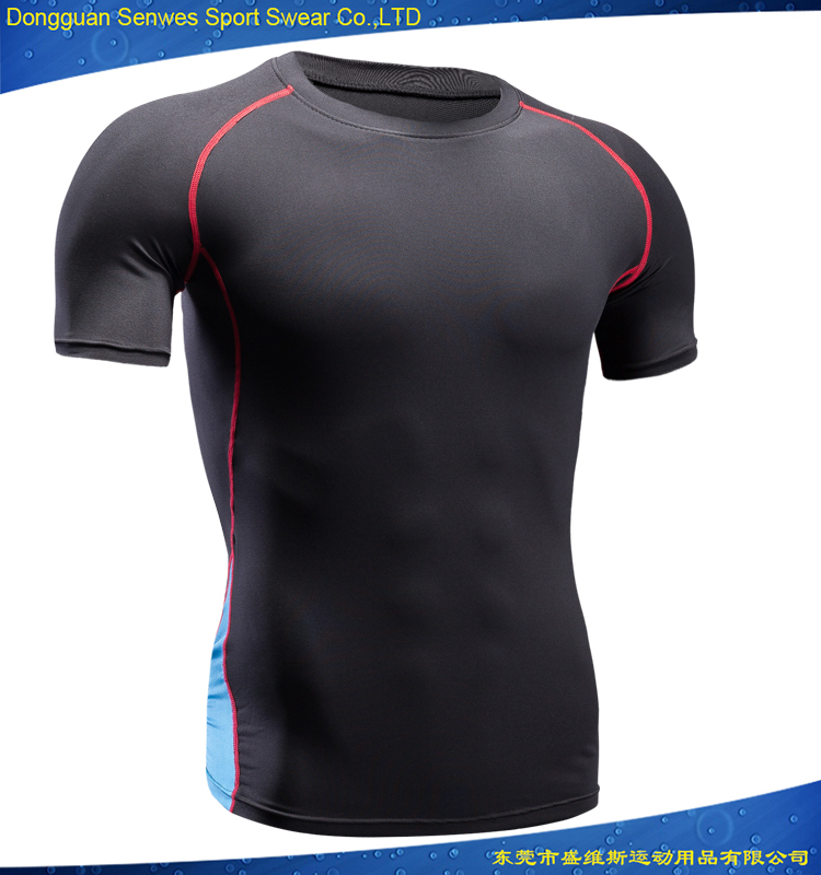 Dongguan factory custom made fitness wear blank compression shirts type mma rash guards for men