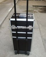Professional cosmetic trolley case train case/aluminum rolling cosmetic case/rolling trolley makeup train case