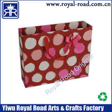 High quality making you own design art paper dot style gift bag with bow