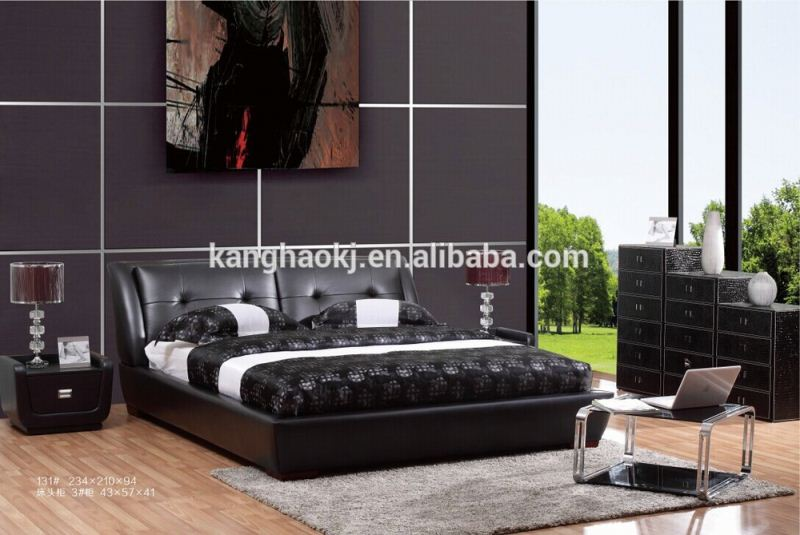 queen modern leather bed