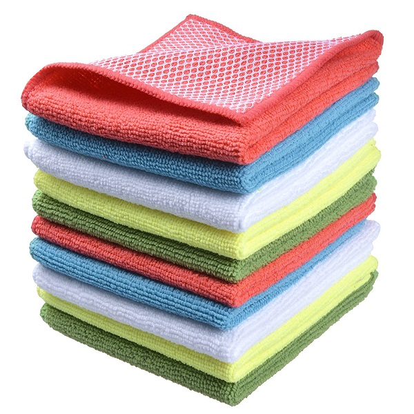 "Sunland 12""<strong>x12</strong>"" 10 Pack Wholesale 5 Color Assorted Microfiber Household Cleaning Cloths With Poly Scour Side"