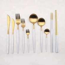 Wholesale 18 10 gold flatware titanium rose gold white black royal stainless steel hotel cutlery