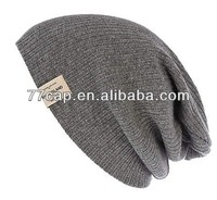 Men's Custom Made Cheap Bulk Knitted Beanies with Woven Label