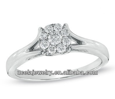 Composite Diamond funny Engagement Ring in 10K White Gold fashion jewelry