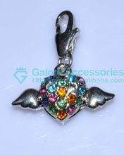 pave multi colored stone wing angel charms wholesale